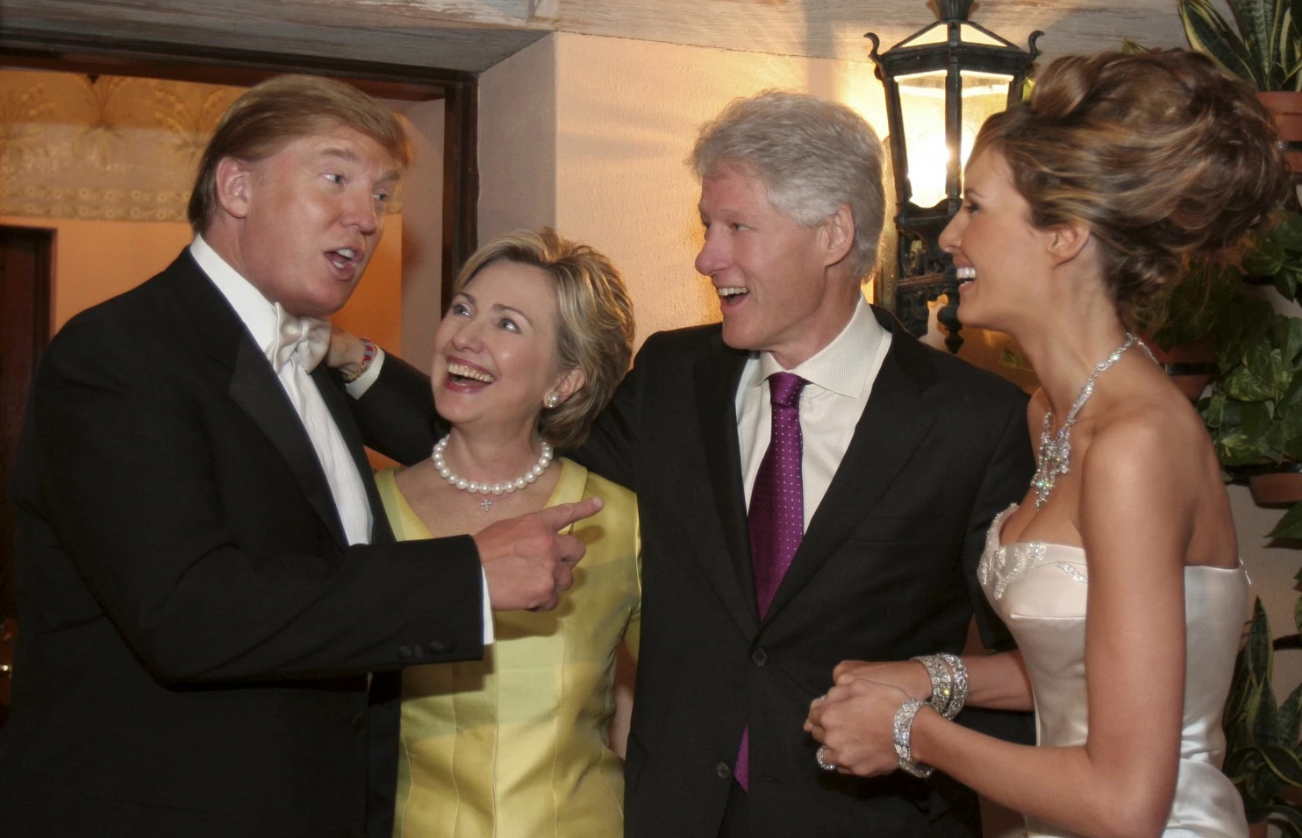 The Clintons at the Donald's wedding in Palm Beach, 2005. They look cosy, don't they?